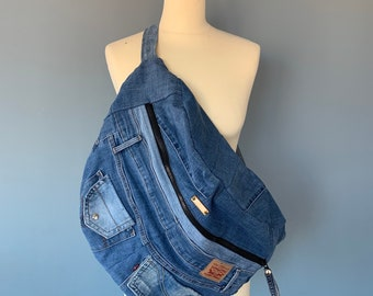 Fanny Pack xxl bumbag hobotas crossbody bag recycled Levi's Jeans