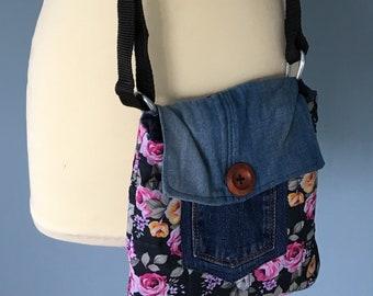 Reversible shoulder bag, hantas, jeans and flowers
