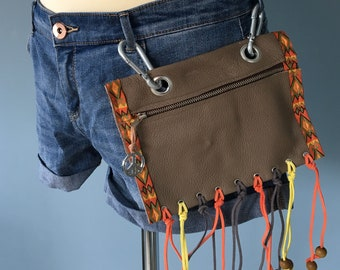 Beltbag/Festival Bag/Riemtas with fringes, Fanny pack, Belt bag leather, festival belt, belly bag, waist bag, hipbag, belt bag