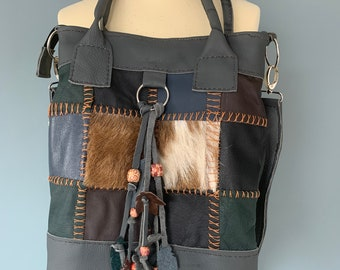 Boho cowgirl shoulder bag shopper's leather and patchwork