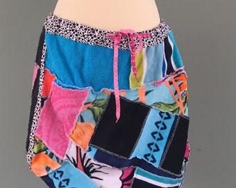 Summer skirt of Terry, patchwork, beach skirt, surf clothing, sports wear