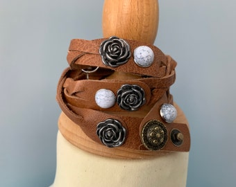 Cognac brown leather braided wrap bracelet size m with studs