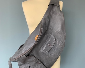 Leather Fanny Pack XXL cross body bumbag shoulder bag hobo bag grey Leather