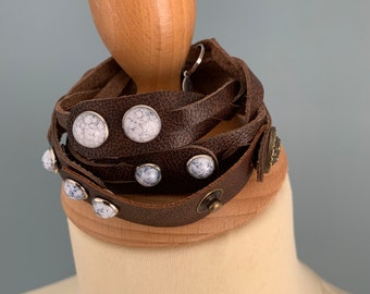 brown leather braided wrap bracelet size L with studs