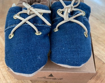 Baby/Kids slippers made of jeans and leather