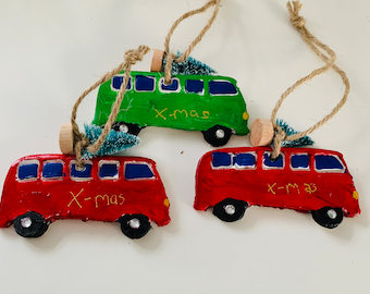 Hippie bus vw bus Christmas hanger for in the Christmas tree