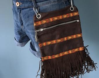 Ibiza/Boho style Brown leather fanny pack, belt bag leather, festival belt, belly bag, waist bag, hipbag, belt pocket, Pocket belt, bum bag
