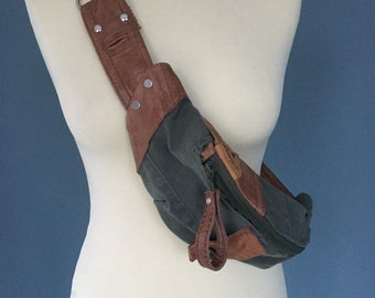 Fanny pack brown leather with denim army green bumbag beltbag