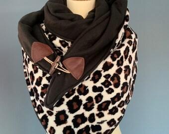 Large tri-point Scarf xxl triangle shawl with leopard print