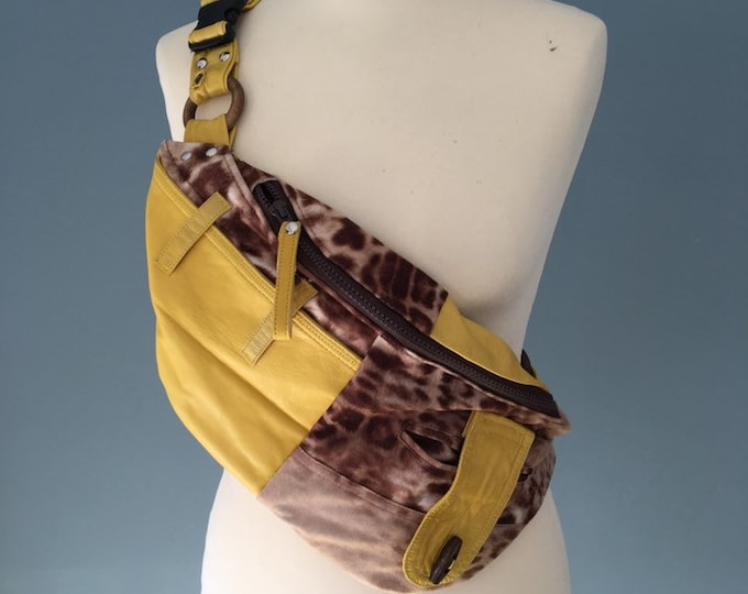 Featured listing image: Fanny Pack Beltbag Festival bag waist bag yellow leather with animal print