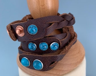 Dark brown leather braided wrap bracelet size s