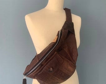 Leather Fanny Pack Hobo bumbag waist bag cross body bag brown leather