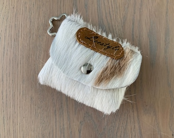 Leather key chain purse of a goat fur