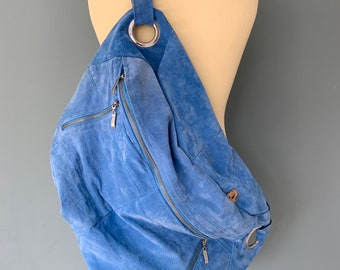 Fanny Pack XXL oversized bumbag hobo bag blue Leather