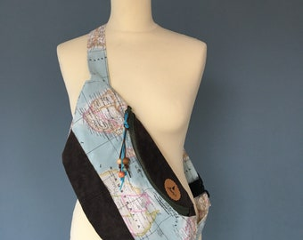 Fanny Pack beltbag Hip Pouch Festival bag leather and chart print