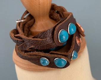 Brown leather braided wrap bracelet size m with studs