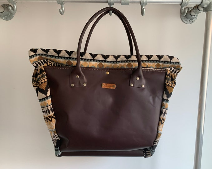 Featured listing image: Multi functional bag Handbag beach shopper made of leather and woven fabric