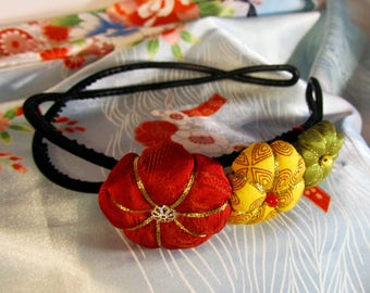 Green yellow red flower headband in Tsumami Kanzashi