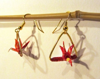 Origami red triangle earrings