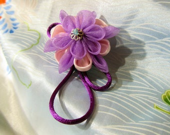 Brooch for clothes purple pink flower in Tsumami Kanzashi
