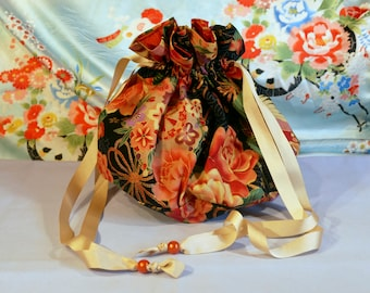 Orange Navy Blue purse bag - Japanese fabric