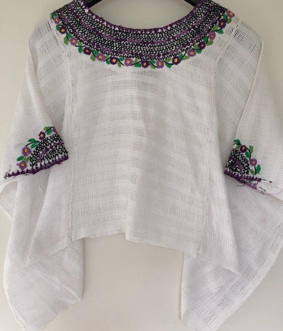 Gorgeous white huipil huipil flower top ethnic shirt mayan   Etsy
