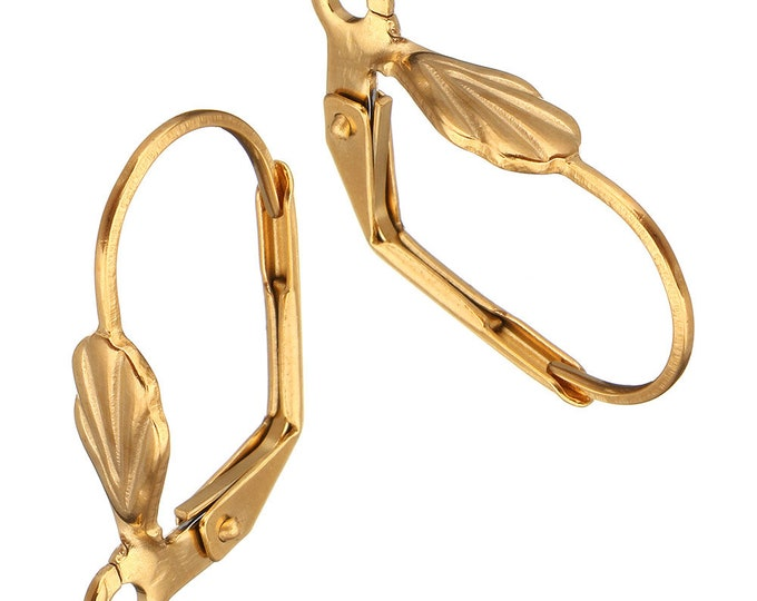3 Pairs Gold Tone Stainless Steel Leverback Earring Wires Hooks Hoops w Loops and Flower Lever Back Hypoallergenic