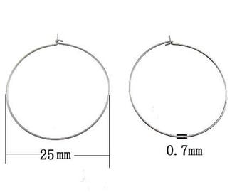 25 pairs 25mm Stainless Steel Wire Hoop Earring 22 Gauge Hypoallergenic