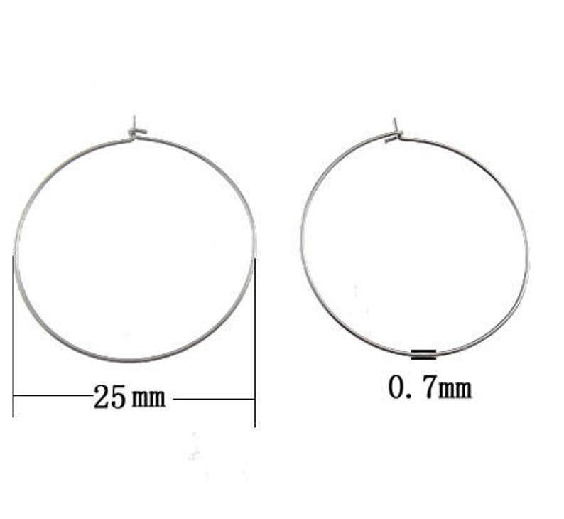 2151b774a 30 pairs 25mm Stainless Steel Wire Hoop Earring 22 Gauge | Etsy