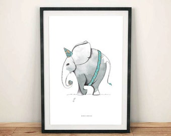 Limited Edition - colored Elephant illustration poster