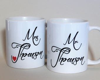 Mr and Mrs Mugs personalised by TotalMug gift for wedding mugs anniversary mugs his and hers mugs mr and mrs china gift for couple