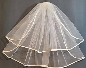 Two Tier Satin Trim Veil in White or Ivory 1/4 inch Ribbon 54 inch width | First Communion Veil | Bridal Veil | Wedding Veil