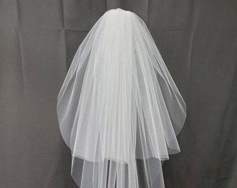 108 inch/Full Fullness Two Tier Veil in White or Ivory | Bridal Veil | Wedding Veil | Classic Veil | Simple Bridal Veil | Cut edge Veil