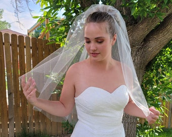 Simple Circle Veil White or Ivory