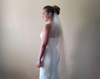 108 in/Full Fullness One Tier Cut Edge Veil in White or Ivory | First Communion Veil | Bridal Veil | Wedding Veil