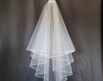 Circle Veil With 1/8 inch Satin Trim White or Ivory