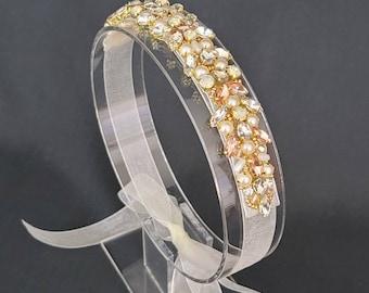 Vintage style Bun Wrap Headband Sash | Hand Beaded Rhinestone and Organza Bridal Headpiece | Beaded Sash Belt | Flower Girl | Bridesmaid