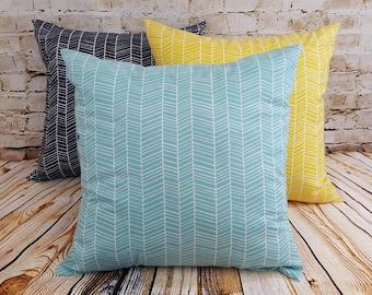 Herringbone Print Pillow Covers Set of Two Choice of Aqua Navy or Yellow