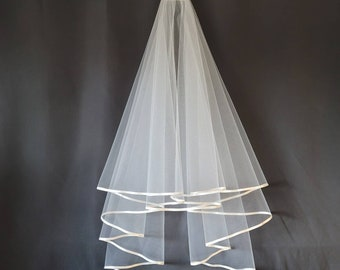 Circle Veil With 1/4 inch Satin Trim White or Ivory