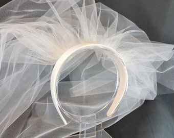 White or Ivory Satin Headband Veil | Wedding Veil | First Communion Veil | Confirmation Veil | Simple Veil