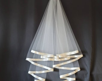 Circle Veil With 7/8 inch Satin Trim White or Ivory