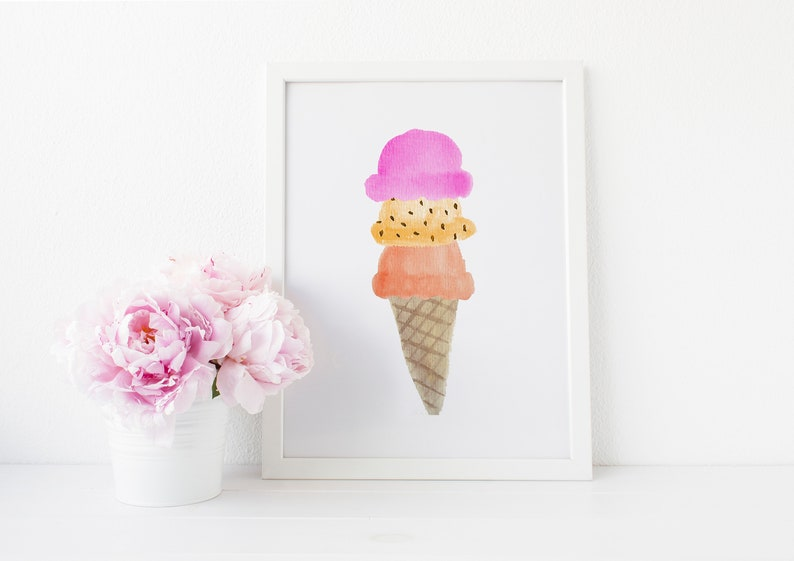 image relating to Printable Ice Cream Scoops named Red Ice Product Scoops - 8x10 - Do-it-yourself Printable - Watercolor - Wall Artwork Print - Electronic Down load Print