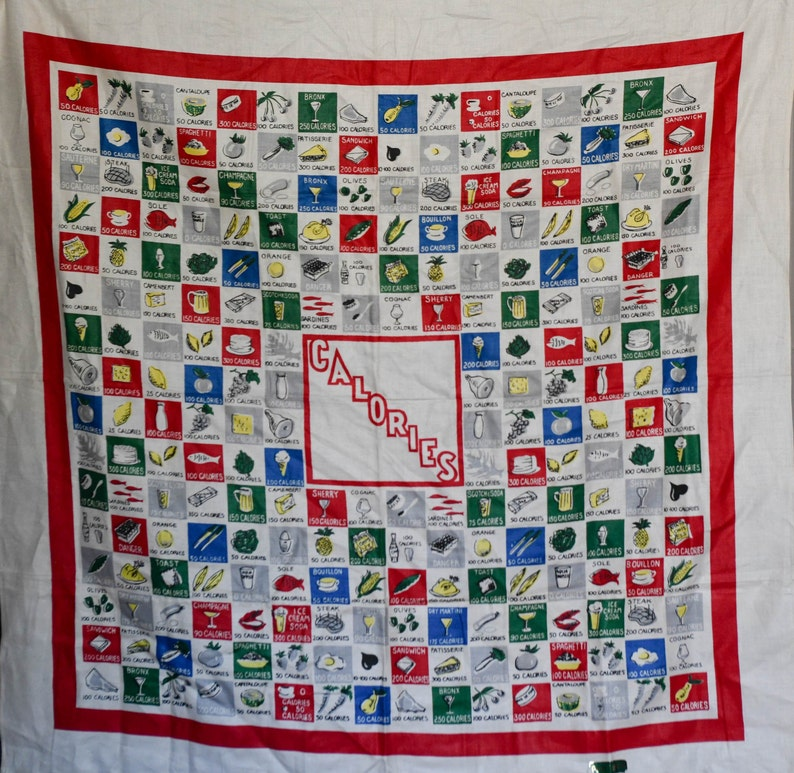 NWT Vintage Calorie counting table cloth 100/% linen free shipping!