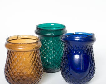 Antique Victorian blue green amber glass Christmas/fairy/night/tea light votive set of 3