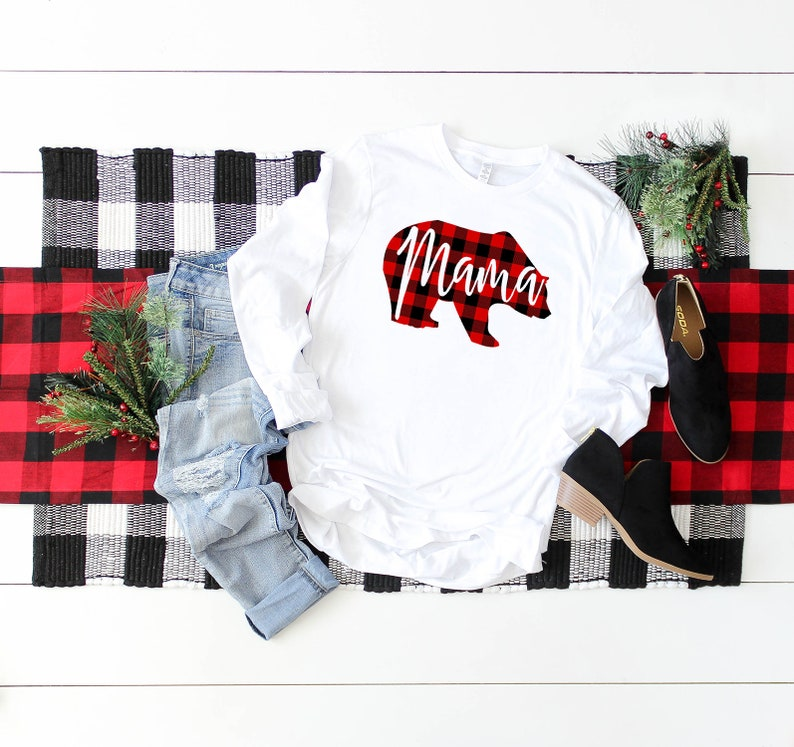 52baddd5 Mama Bear Plaid Shirt Plaid Bear Shirt Buffalo Plaid Bear | Etsy
