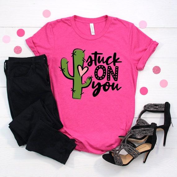 unisex tshirt valentines day tshirt valentines day stuck on you shirt succulent cactus shirt Retro Stuck On You valentines shirt
