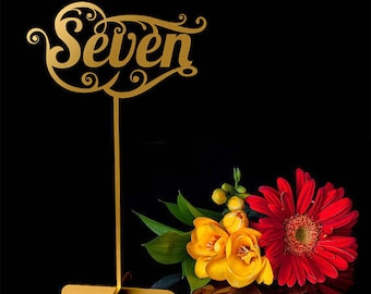 """Table Numbers.Wedding signs.Gold table numbers.Table decoration.Numbers with base -Please Send your phone number in the """"NOTE to the seller"""""""