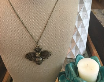 Royal Bee Antique Brass Pendant Necklace