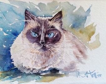 Watercolor painting of Siamese cat-painting Watercolour Siamese Cat