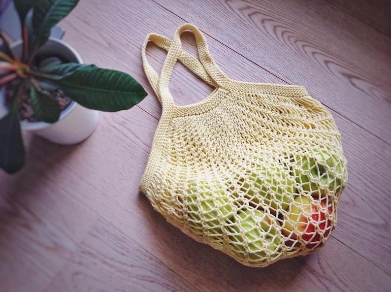 Cotton Market Bag  Reusable Shopping Bag  Cotton Net Bag  Knitted bag  Shopping Bag  Fishnet Bag  Market Eco Bag  Yellow Tote Bag